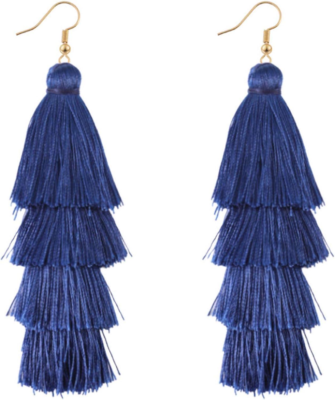 4 capas bohemia multicolor borla pendientes amarillo oído anillo mujeres gota colgante pendiente azul-un tamaño