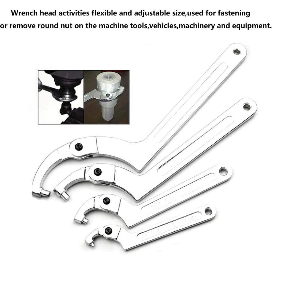 2-4 3//4 Vmotor Chrome Vanadium Adjustable C Spanner Hook Wrench Tool 51-121mm