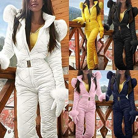 Lazapa Women Winter Sports Jumpsuit Outdoor Zipper Hooded Ski Suit Plus Velvet Thicken Windproof Waterproof Windbreaker
