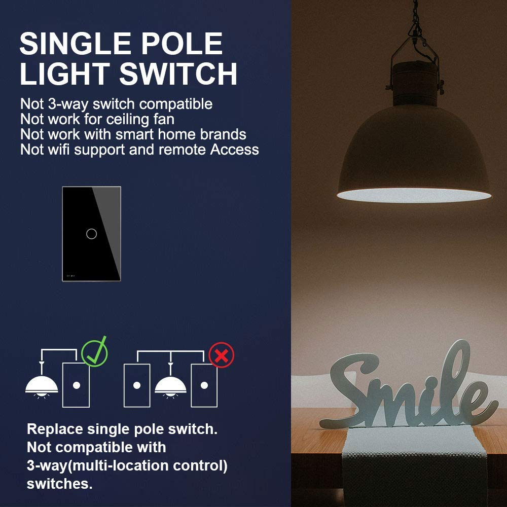 Livolo Light Switch Tempered Glass Panel Touch 1 Gang 3 Way Single Pole With Indicator Us Standard Modern Wall Ac 110 220v C501 12 Black Switches