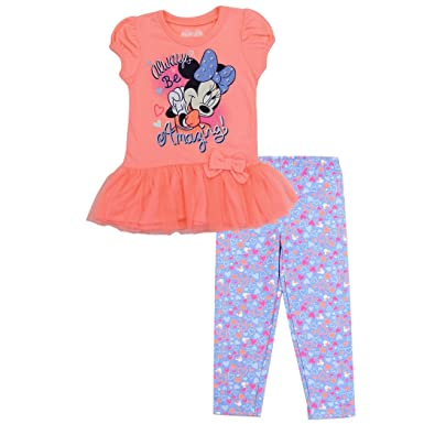 12d577557ebf Amazon.com: Disney Minnie Mouse Girls Toddler Size 2-Piece Shirt and Pant  Legging Clothing Set: Clothing