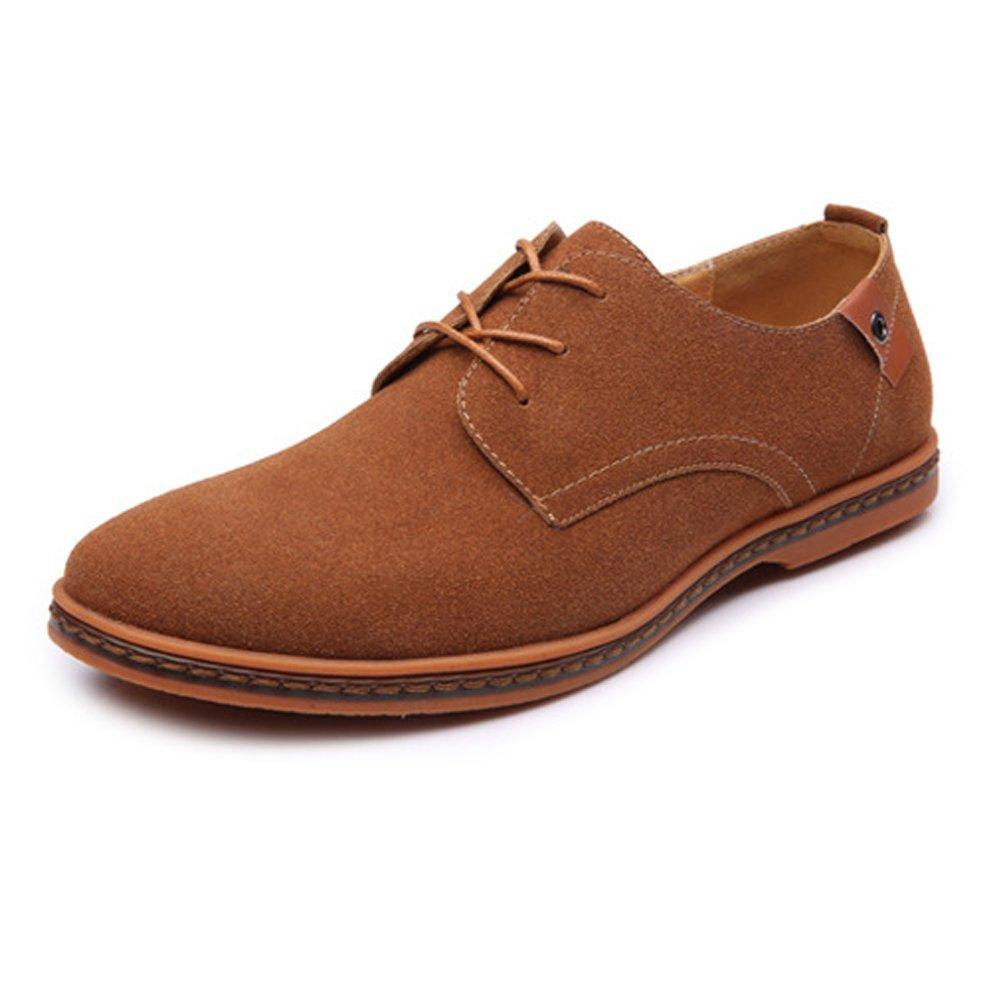 Ruiyue Leder Oxford Schuhe Männer  Casual Schnürschuhe Kunstleder Oxfords Low Top Wohnungen Sohle Freizeit Komfortable Stiefeletten Braun