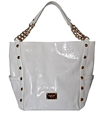 7fc7be117f3d Image Unavailable. Image not available for. Color: Michael Kors White  Mirror Metalic Delancy Large Shoulder Bag Tote Handbag Purse
