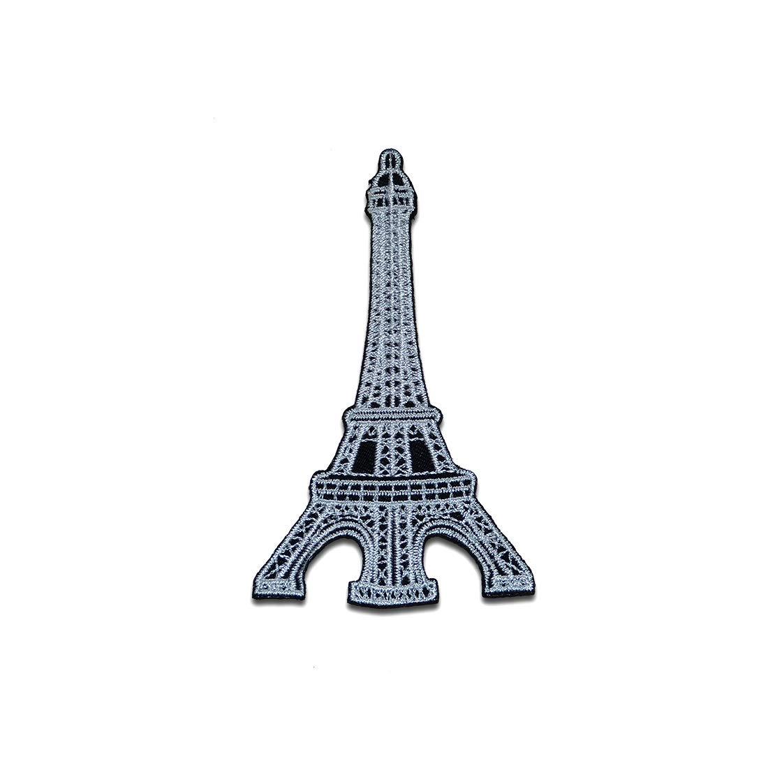 Patches silber Aufnäher // Bügelbild 6,2 x 8,9 cm Eiffelturm Paris France