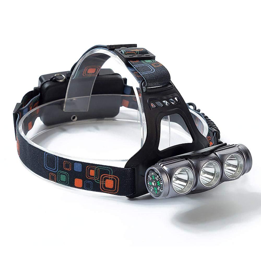 FOONEE Linterna Frontal Recargable, Impermeable, ángulo Ajustable 18650, Carga USB más Brillante, con brújula para Camping, Senderismo, Pesca, luz de Seguridad para Exteriores