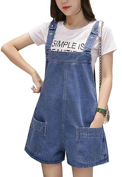 Women Denim Short Overalls Summer Shorts Bib Shortalls