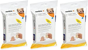 Medela Quick bMLOW Clean Breast Pump and Accessory Wipes, 24 Count (3 Pack)