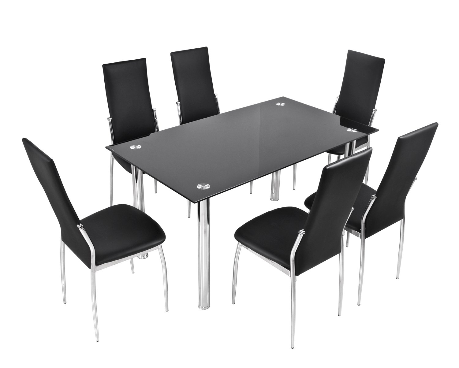 BTM Luxury Black Glass Dining Table Set With 6 Faux Leather Chairs Chrome  High Quanlity Cheap Dining Table And Chairs Milan 6 Seater Dining Set: ...