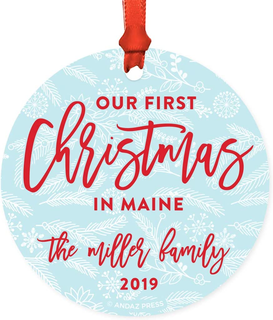Andaz Press Personalized Round Natural Wood MDF Keepsake Christmas Ornament Long Distance Gift, First Christmas in Maine, The Miller Family 2020, Winter Blue and Red, 1-Pack, Custom