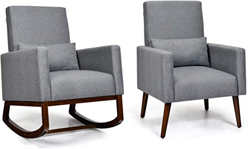 Giantex Armchair Set of 2 Multifunctional Rocking Chair Modern High Back Chair W/Fabric Cushion