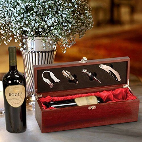 (CENTER GIFTS Rosewood Finish Wine Box With Tools Personalized | Wine Tool Accessories, Corkscrew, Bottle Stopper, Cutter | Wine Kit in Wood Box, Christmas, New Year, Wedding | Engrave with Message )