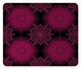 digital baroque - Purple Mandala Mouse Pad by Ambesonne, Psychedelic Stylized Digital Ethnic with Baroque Rococo Indie Design, Standard Size Rectangle Non-Slip Rubber Mousepad, Maroon Magenta
