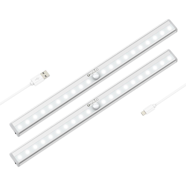 Motion Sensor Closet Lights, OxyLED Under-Cabinet Lightening, USB Rechargeable, Stick-on Cordless 20 LED Night Light Wardrobe Stairs Step Light Bar, Safe Lights W/ Magnetic Strip, 2 Pack, T-02S