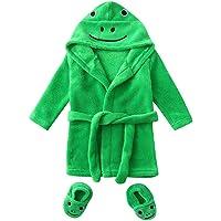 LIKESIDE Cute Kids Infant Boys Girls Frog/Duck Cartoon Flannel Bathrobes Hoodie Sleepwear+Footwear Outfits