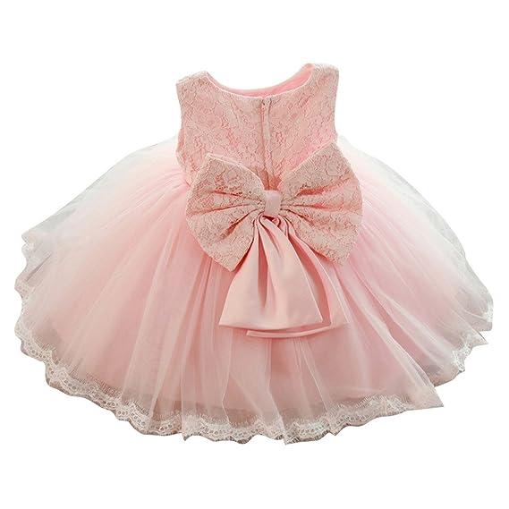 Vestido de fiesta de los bebés de los cabritos del bebé Vestido floral de la princesa Bowknot de la dama de honor de la boda del cordón rosado / 100cm ...