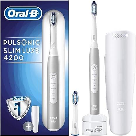 Oral-B Pulsonic 4200 Adulto Cepillo dental sónico Paladio - Cepillo de dientes eléctrico (Batería, Batería integrada, 1 pieza(s), 2 pieza(s)): Amazon.es: Salud y cuidado personal