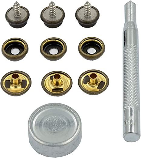 15mm Heavy Duty Brass Press Studs Snap Fasteners Leather Wood to Fabric and Tool