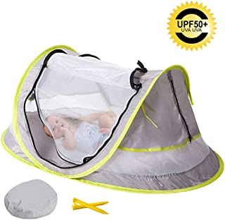 Baby Beach Tent Portable Baby Travel Bed Indoor & Outdoor 50+ UV Ultralight Waterproof Pop Up Toddler Mosquito Net + 2 Pegs (Green)