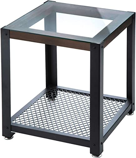 J JACKCUBE DESIGN 2-Tier Tempered Glass Top Metal Frame Side Table