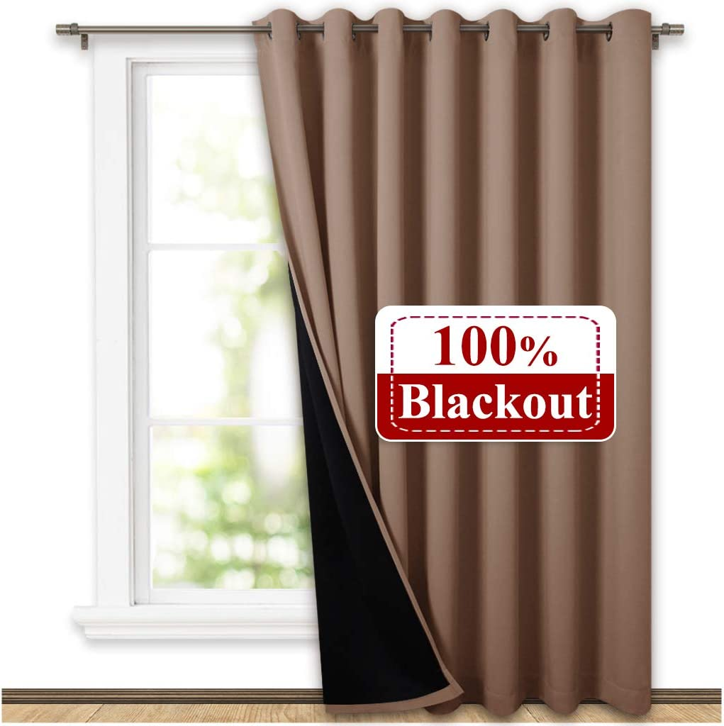 NICETOWN Thermal Insulated 100% Blackout Curtain, Noise Reducing Performance Grommet Slider Curtain Panel with Black Lining, Full Light Blocking Patio Door Panel (1 PC, 100 inches x 84 inches, Taupe)