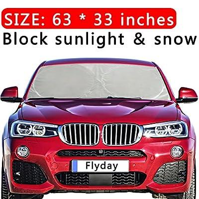 Flyday Auto Car Sun Shade Foldable Windshield - Blocks UV Rays Sun Visor Protector, Sunshade To Keep Your Vehicle Cool, Fits Trucks SUVs Vans(Standard 63 x 33 inches)