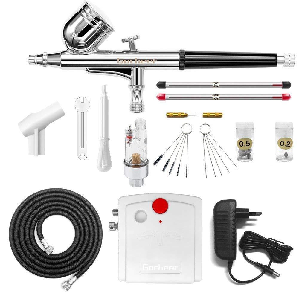 Gocheer Compresseur Aerographe Complet Kit Inclus Double Action Pistolet Aerographe,Mini Compresseur,Filtre,Porte,Tuyau,Mini Clé,Compte-gouttes,Kit Nettoyage Aerographe et 0,2/0,3/0,5 Buse et Aiguille