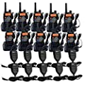 Retevis RT-5RV 2 Way Radio 5W 128CH VHF/UHF 136-174/400-520 MHz VOX DTMF/CTCSS/DCS FM Transceiver with Earpiece (10 Pack) and Speaker Mic (10 Pack) from Retevis