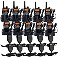 Retevis RT-5RV 2 Way Radio 5W 128CH VHF/UHF 136-174/400-520 MHz VOX CTCSS/DCS FM Transceiver with Earpiece (10 Pack) and Speaker Mic (10 Pack)