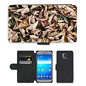 PU LEATHER case coque housse smartphone Flip bag Cover protection // M00151524 Hojas de otoño Hierba Tierra Seca // Samsung Galaxy S5 S V SV i9600 (Not Fits S5 ACTIVE)