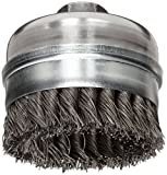 Weiler Banded Wire Cup Brush, Threaded Hole, Steel, Partial Twist Knotted, 4'' Diameter, 0.023'' Wire Diameter, 5/8''-11 Arbor, 7/8'' Bristle Length, 9000 rpm (Pack of 1)