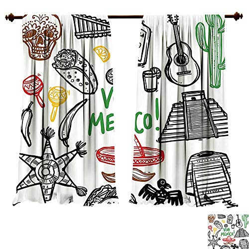 Printed Thermal Insulated Bedroom Blackout Curtains Mexican ations Sketch Latin Object with Burritos Guitar Tequila Bottle Pinata Quetzal coati Multi for Bedroom Set (W120 x L72 -Inch 2 Panels) -