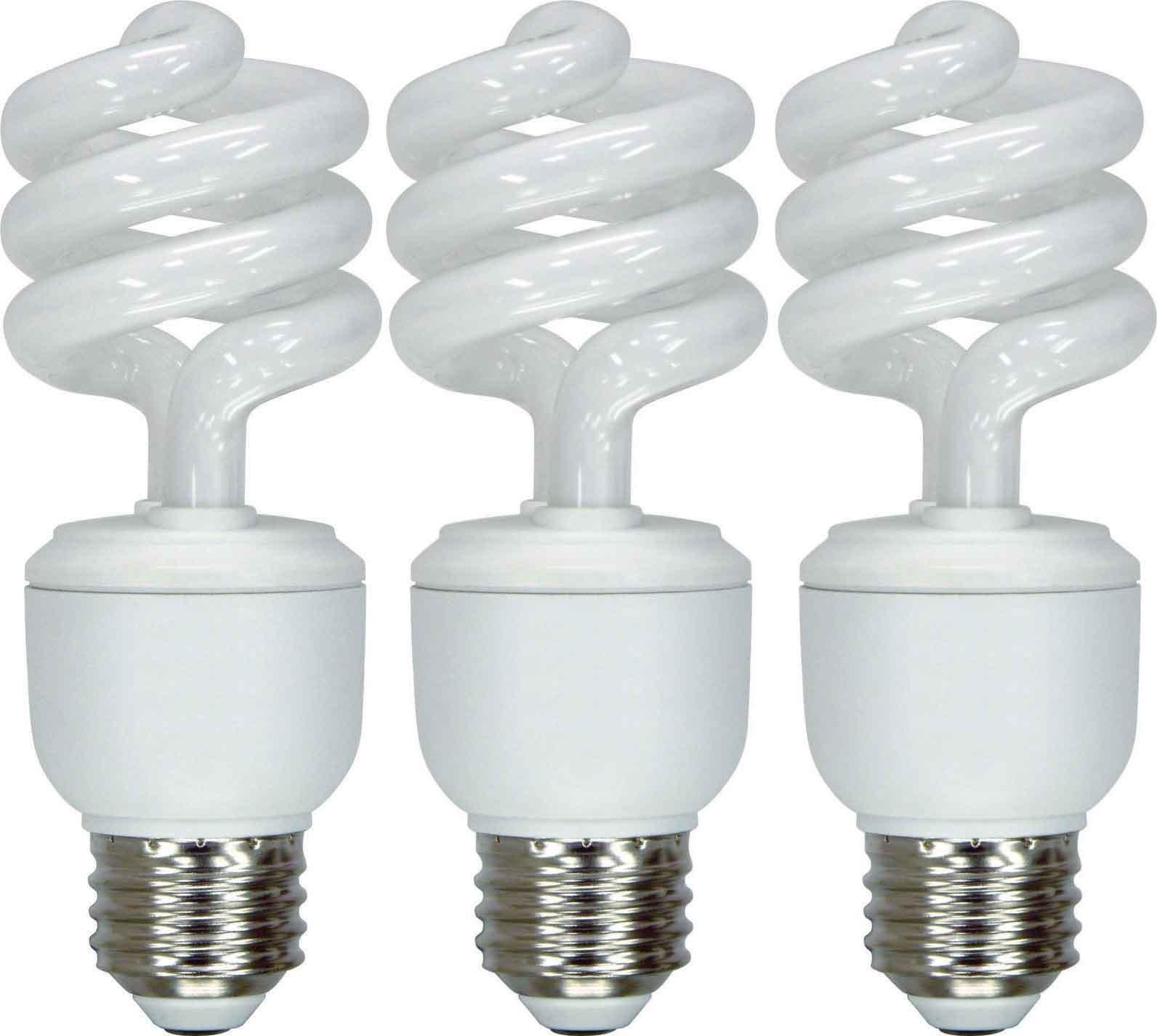 GE Lighting 92779 Energy Smart CFL 13-watt 825-Lumen T3 Spiral Light Bulb with Medium Base, 3-Pack