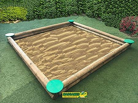 MASGAMES Arenero para niños Gigante de 2,00 x 2,00 MTS. Fabricado en Madera Redonda Muy Resistente, Marca: Amazon.es: Juguetes y juegos