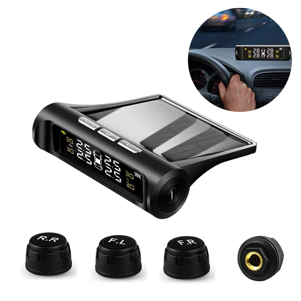 VSTM Tire Pressure Monitoring System TPMS,Solar Power Universal Wireless Car Alarm System with 4 External Sensors,6 Alarm Modes,LCD Real-time Display Pressure /& Temperature Alerts Ensure Safe Driving
