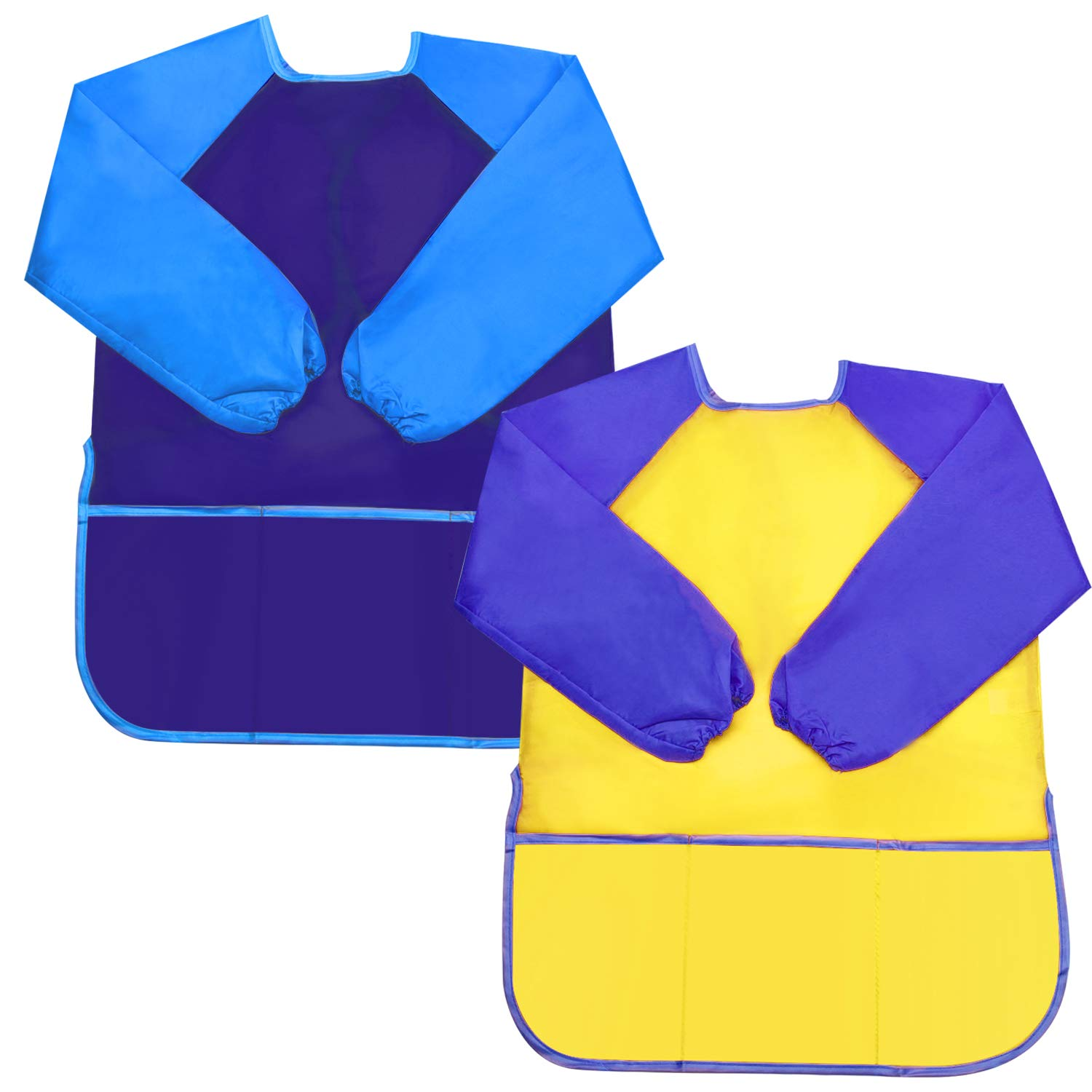 Sunmns Kids Art Smocks, Children Boy Waterproof Artist Painting Aprons Long Sleeve with 3 Pockets for Age 3-5 Years, 2 Pieces (Yellow, Blue) SunmnDirect