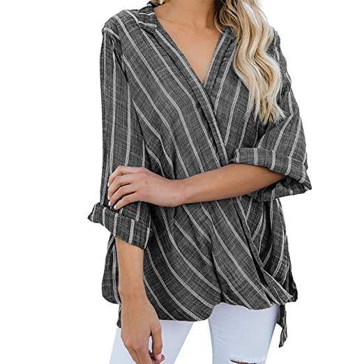 176bf7611777ba Image Unavailable. Image not available for. Color  Ghazzi Women Tops Teen  Girls Fashion Stripe Blouse V Neck Long Sleeve Shirts Plus ...