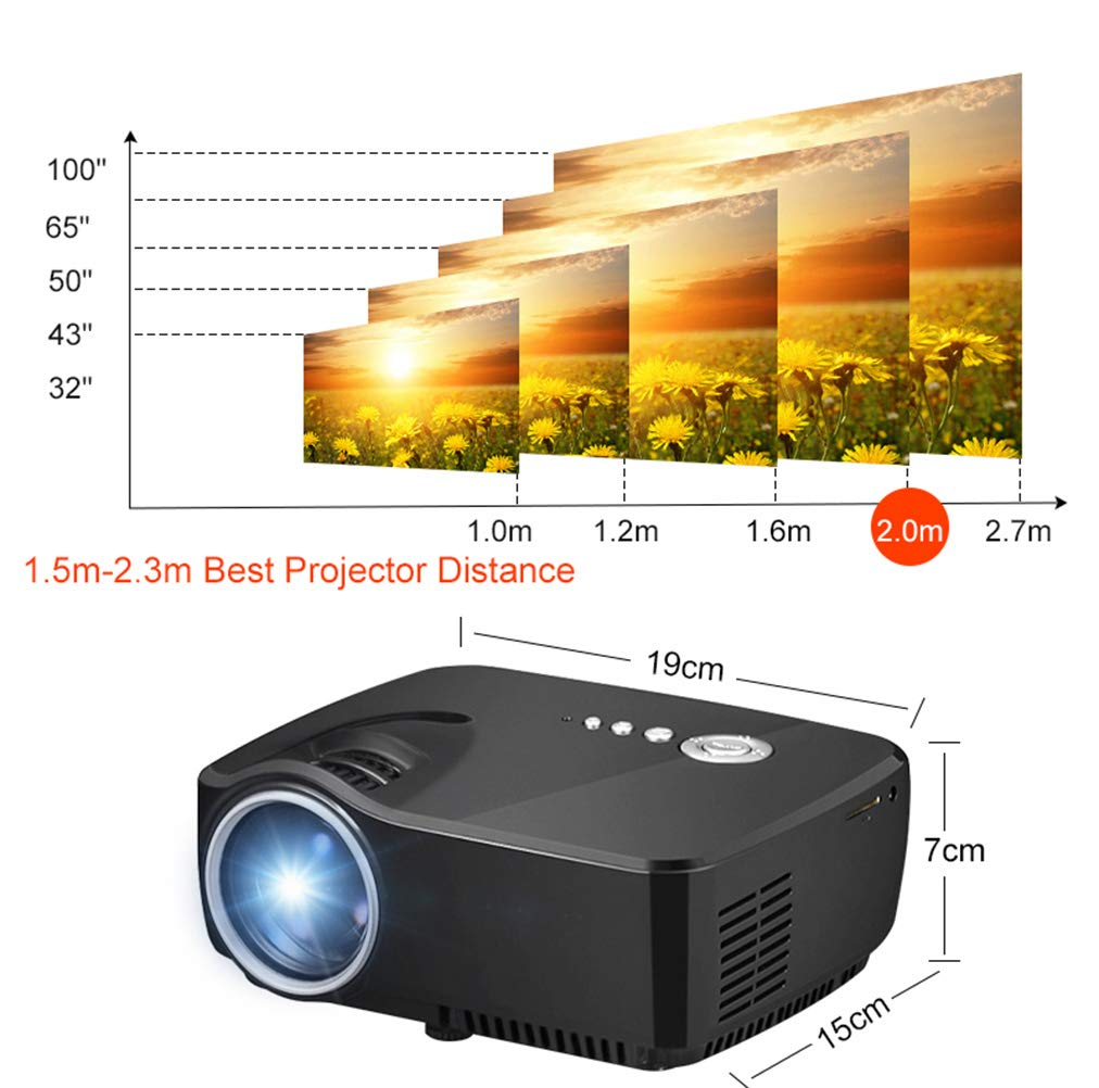 Wj JW Proyector HD 3D, Smartphone Igual Pantalla 1200 lúmenes ...