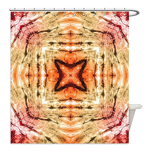 Liguo88 Custom Waterproof Bathroom Shower Curtain Polyester Tie Dye Decor Authentic Popular Beat Culture Life Design with Spectral Ethnic Hipster Image Red Orange Decorative bathroom (New Fresh Beat Band Costumes)