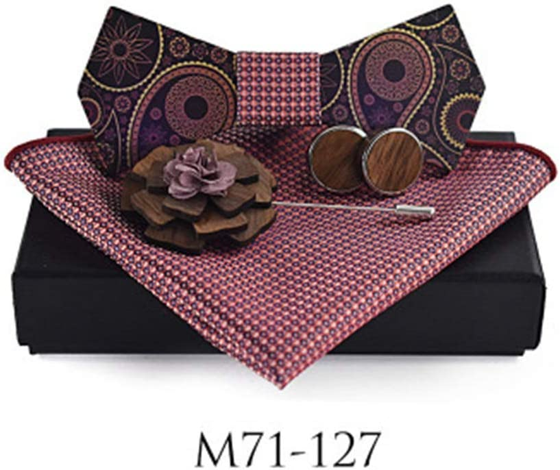Fashion Wooden Bow Tie New Surface Printing Paisley Brooch Square Wedding Casual Shirt Bow Tie Set Necktie Color : 126