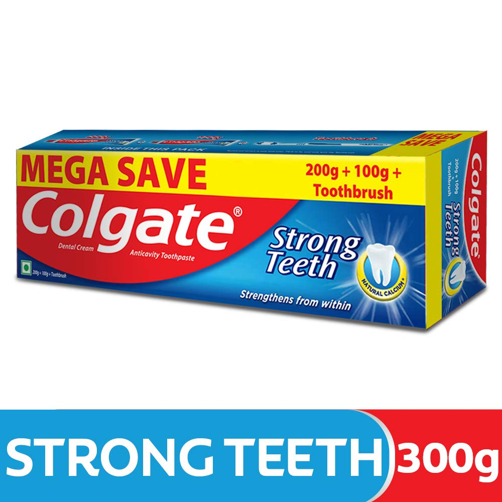 Colgate Strong Teeth Anti-Cavity Toothpaste – 300g with Free Toothbrush (Saver Pack) product image