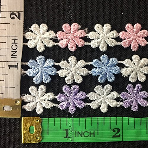 5 yard, Alternating Mini Daisy Venice Lace Trim, Light Pink and White, - Trim Daisy