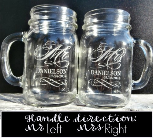 Stocking Factory Custom Etched Mr. Mrs. Personalized Mason Mugs, Set of 2, Clear by Custom-Engraved-Glasses-by-StockingFactory (Image #1)