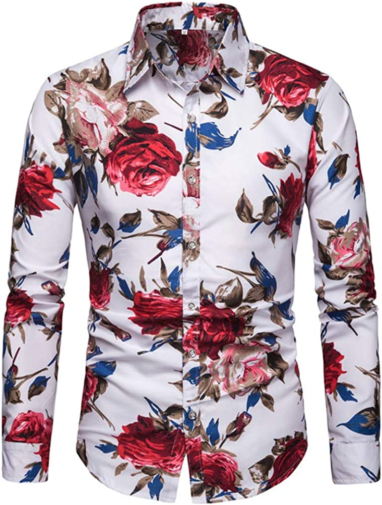 Allthemen Mens Casual Floral Printed Shirts Long Sleeve Funky Slim Fit Cotton Shirt Fashion Casual Tops Unique Pattern