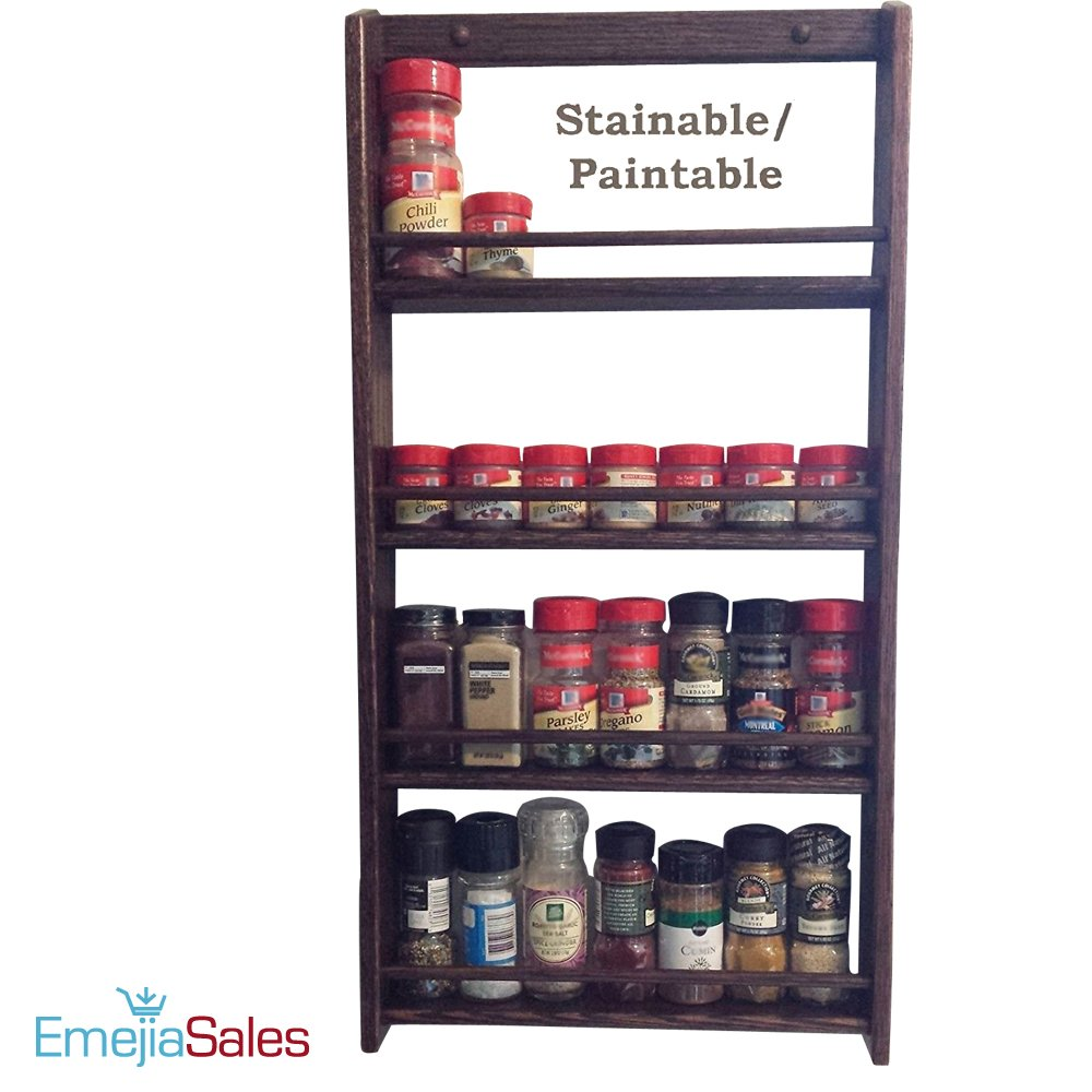 EmejiaSales Oak Spice Rack Wall Mount Organizer (3-Shelf Design), Hanging Natural Wood Country Rustic Style, Great Storage for Pantry and Kitchen - Holds 18 Herb Jars by EmejiaSales (Image #7)