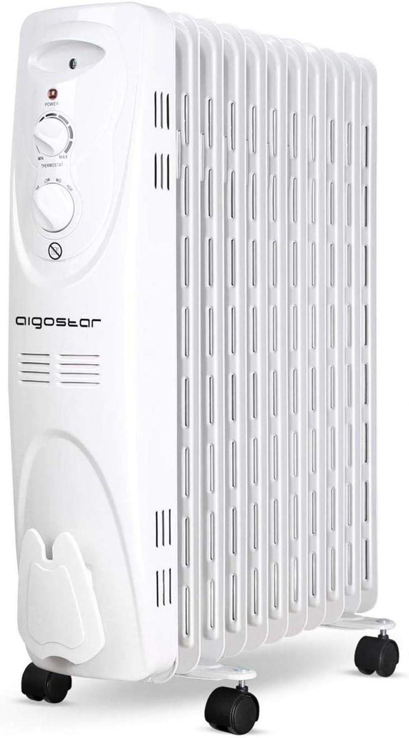 Aigostar 33IEJ – Radiador de aceite de 11 elementos, 2300 Watios, dispone de 3 ajustes de potencia y control termostático de temperatura.