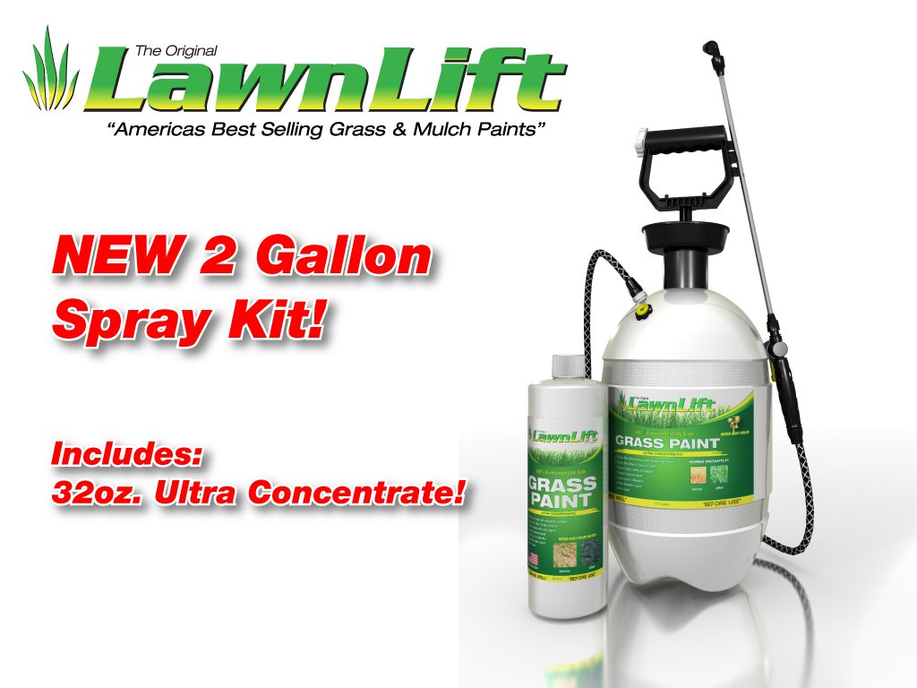 Lawnlift Grass Paint Kit (Includes Professional 2 Gallon Sprayer & 32oz. Ultra Concentrated Grass Paint Bottle= 2.75 Gallons Usable Product and covers up to 1,000 square feet.