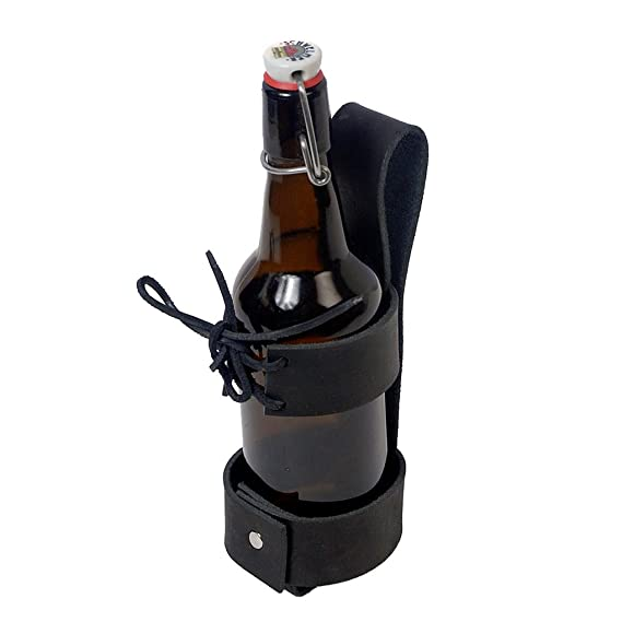 Deluxe Adult Costumes - Deluxe Black Leather Cup Can Water Bottle Drink Holder By The Sword