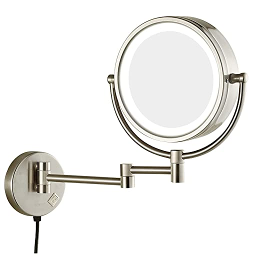Sanliv 8.5 Inch LED Lighted Makeup Mirror, Wall Mount Two Sided Vanity Shaving Mirror with 7x Magnification, Brushed Nickel