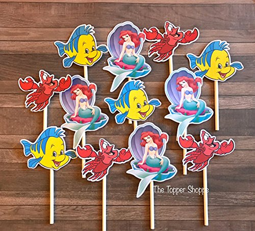12 Cupcake Toppers LITTLE MERMAID