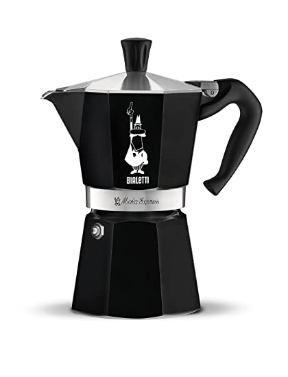 Bialetti Moka Express - Cafetera italiana, lacada, 6 tazas, color negro